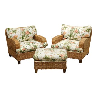 Walters Wicker Custom Lounge Chairs with Ottoman - Set of 3 For Sale