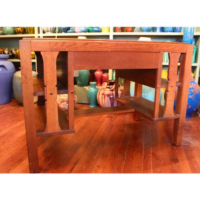 Wood 1920s Antique Stickley Desk Table Bookshelves Mission Oak Writing Desk For Sale - Image 7 of 13