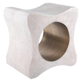 Signet Stool in Cream Shagreen and Bronze-Patina Brass by Kifu Paris For Sale