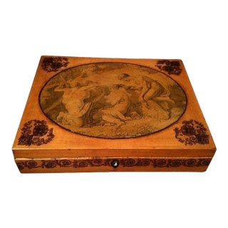 Antique Georgian Box With Pen Work/ English Sewing Box / Transfer Decoration / Allegorical Scene / Robins Egg Blue Interior For Sale