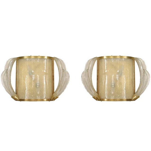 Metal 1940s French Bent Glass and Feather Design Sconces - a Pair For Sale - Image 7 of 7