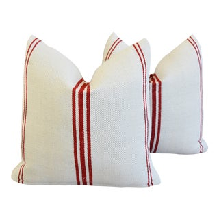 "Red Striped French Farmhouse Grain-Sack Feather/Down Pillows 21"" Square - Pair For Sale"