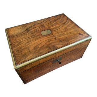 19th Century English Campaign Mahogany Writing Slope Lap Desk Box Brass For Sale