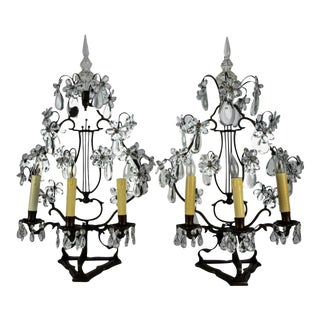 Antique French Metal and Crystal Girandole Lamps - a Pair For Sale