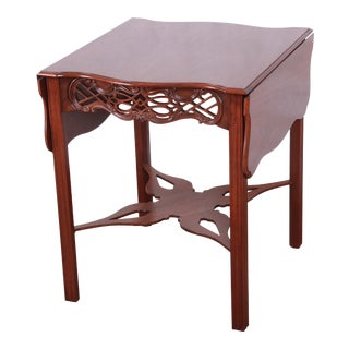 Baker Furniture Historic Charleston Collection Carved Mahogany Pembroke Table, Newly Restored For Sale