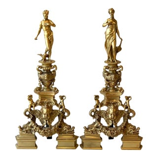 Monumental Pair of French Gilt Bronze Chenets For Sale