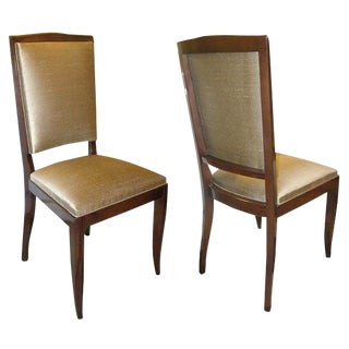 Pair of Art Deco Mahogany and Bronze Colored Scalamandre Silk Dining Chairs For Sale