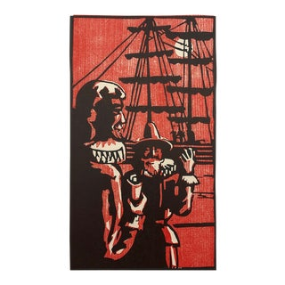 Explorers Color Woodblock Print 1950s For Sale