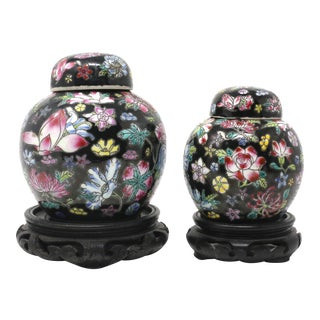 Vintage Petite Black Ginger Jars With Colorful Flowers and Wood Stands - Set of 2 For Sale