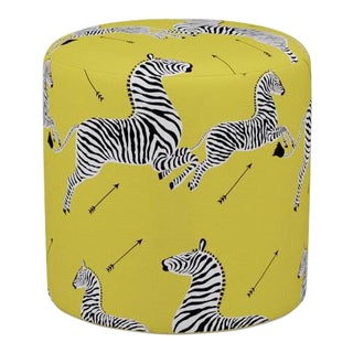Scalamandre Drum Ottoman in Yellow Zebra For Sale