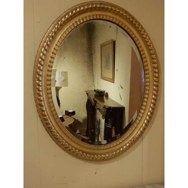 Gold Leaf Oval 19th Century Italian Gilt Mirror For Sale - Image 7 of 7