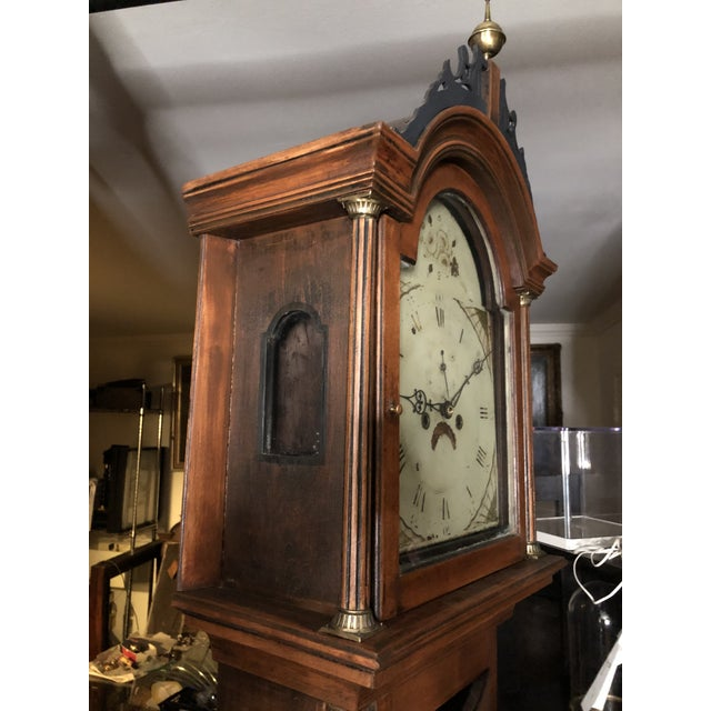 Brown Antique Early American Grandfather Clock Attributed to Silas Parsons For Sale - Image 8 of 10