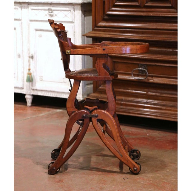 Brown 19th Century English Carved Walnut and Leather Adjustable High Chair Rocker For Sale - Image 8 of 13