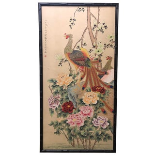 Chinese Scroll Painting of a Peacock and Peonies For Sale