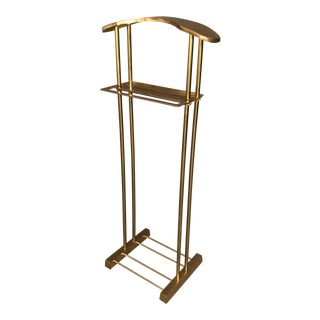 1980s Hollywood Regency Sold Brass Valet Rack For Sale
