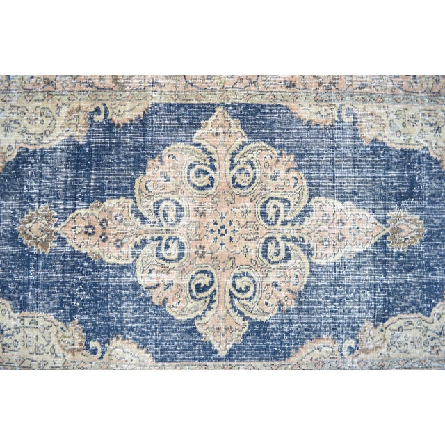 Turkish Distressed Area Rug Hand Knotted Faded Oushak Rug - 3'7'' X 6'7'' For Sale - Image 6 of 11