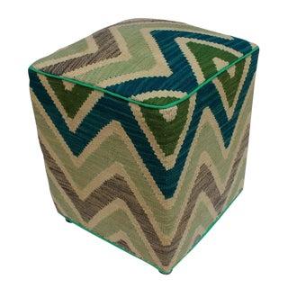 Arshs Delfina Ivory/Green Kilim Upholstered Handmade Ottoman For Sale