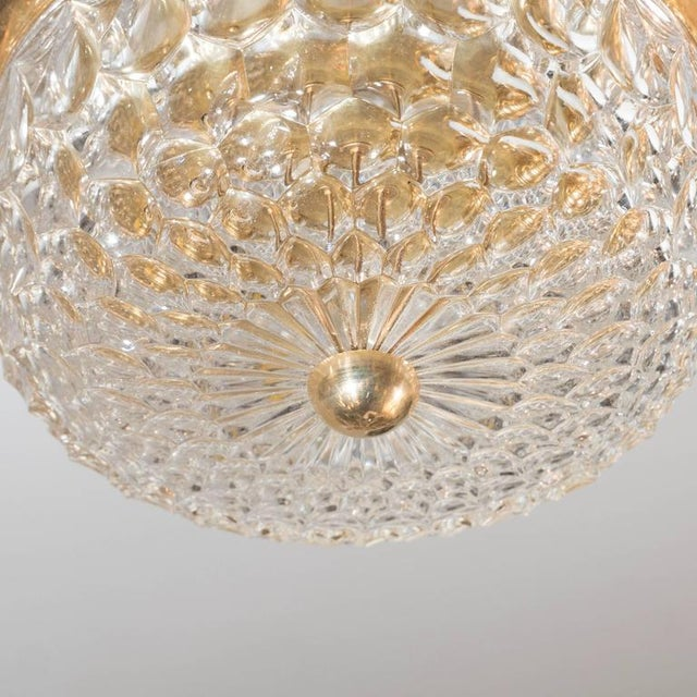 Mid-Century Modern Mid-Century Modernist Crystal Dome and Brass Flush Mount Chandelier For Sale - Image 3 of 9