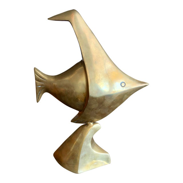 20th Century Nautical Brass Angelfish Table Accent For Sale