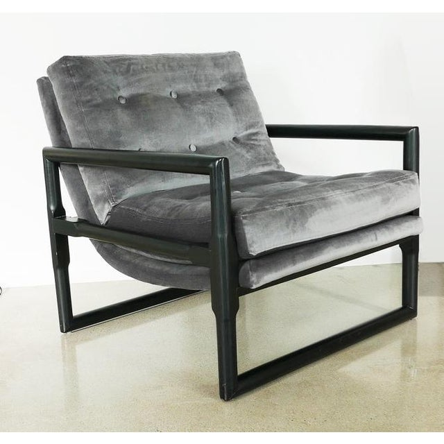 """Wood Grey Mohair Milo Baughman """"Cube"""" Side Chair For Sale - Image 7 of 7"""
