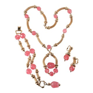 Napier Pink Glass Parure Necklace Bracelet Earrings Set Vintage For Sale