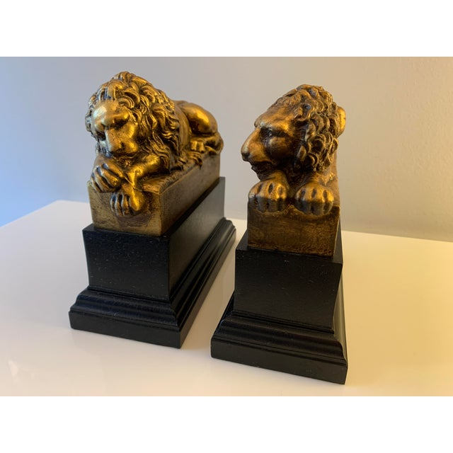 """Vintage Gilt """"Borghese"""" Lion Bookends - a Pair For Sale - Image 11 of 11"""