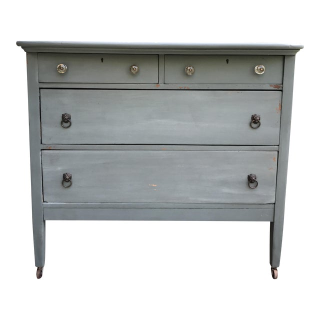 Antique Teal Green Milk Paint Finish Dresser For Sale