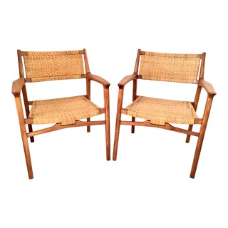 Vintage Mid-Century Modern Teak & Cane Lounge Chairs - A Pair For Sale