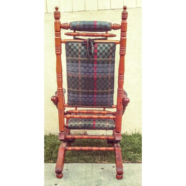 Antique Eastlake Victorian Turned Walnut Blue Platform Rocking Chair For Sale - Image 4 of 6