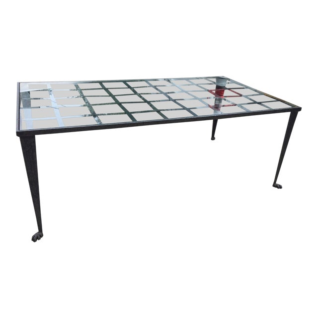 1990's Vintage Custom La Forge Francaise Forged Iron & Glass Coffee Table For Sale