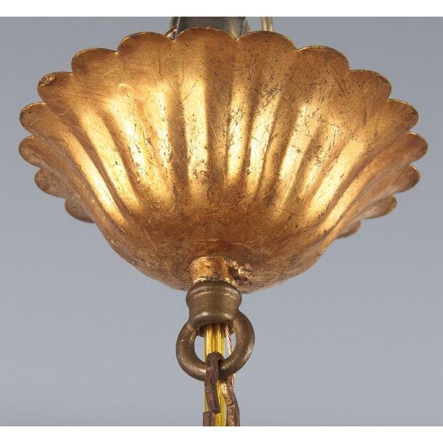 1950s French Gilded Metal Chandelier For Sale - Image 11 of 13