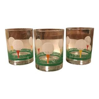 Vintage Golf Tumbler Glass - Set of 3