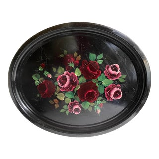 Impressive Antique Tole Metal Hand-Painted Rose Tray For Sale