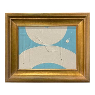 Ron Giusti Mini Wagasa 2 Light Blue and Cream Acrylic Painting, Framed For Sale