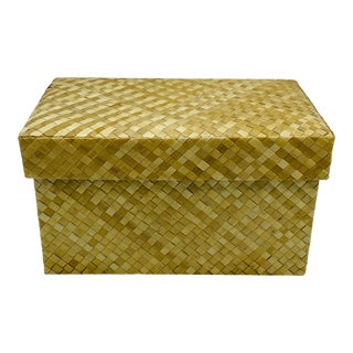 Natural Basketweave Bamboo Woven Lidded Box, 1990s For Sale