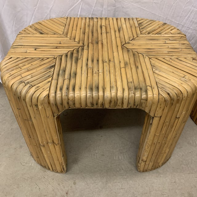1970s Vintage Split Reed Waterfall End Tables - Pair For Sale - Image 5 of 13
