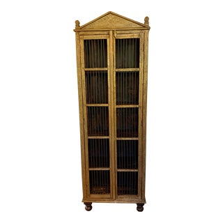 Indian Metal Clad Cabinet With Neoclassical Styling For Sale