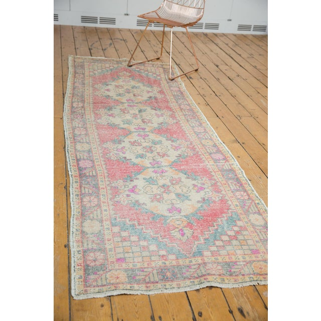 "Red Vintage Distressed Oushak Rug Runner - 3'5"" X 9'5"" For Sale - Image 8 of 11"