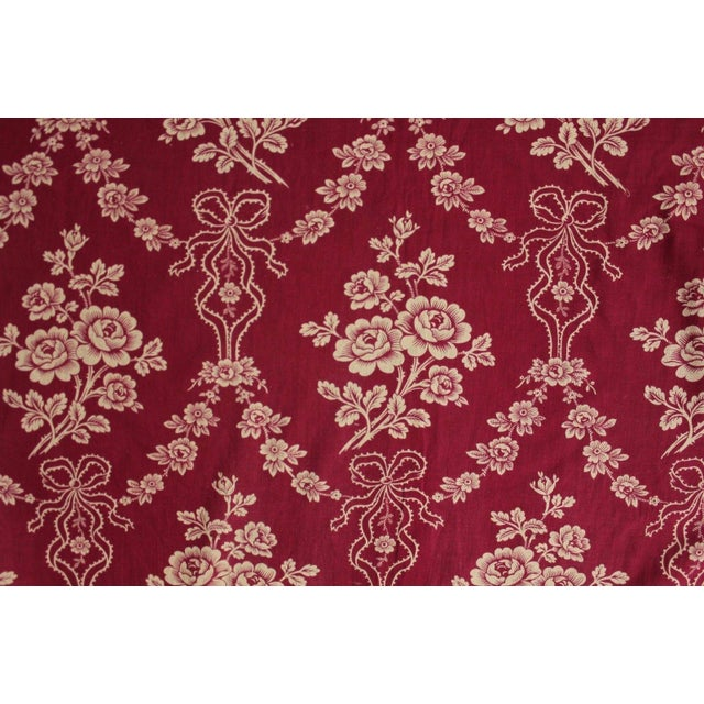 """French Antique 1890s French Burgundy Ribbon & Floral Printed Cotton Fabric - 32"""" X 63"""" For Sale - Image 3 of 5"""