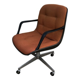 Knoll Style Mid Century All Steel Swivel Chair For Sale