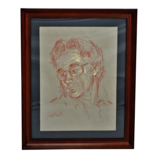 Vintage Framed Pastel Portrait Drawing - Artist Signed For Sale