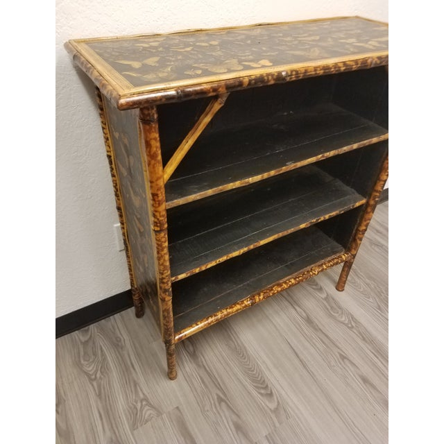 Antique English Bamboo Decoupaged Bookcase With Butterflies This bamboo bookcase is antique and has been restored. After...