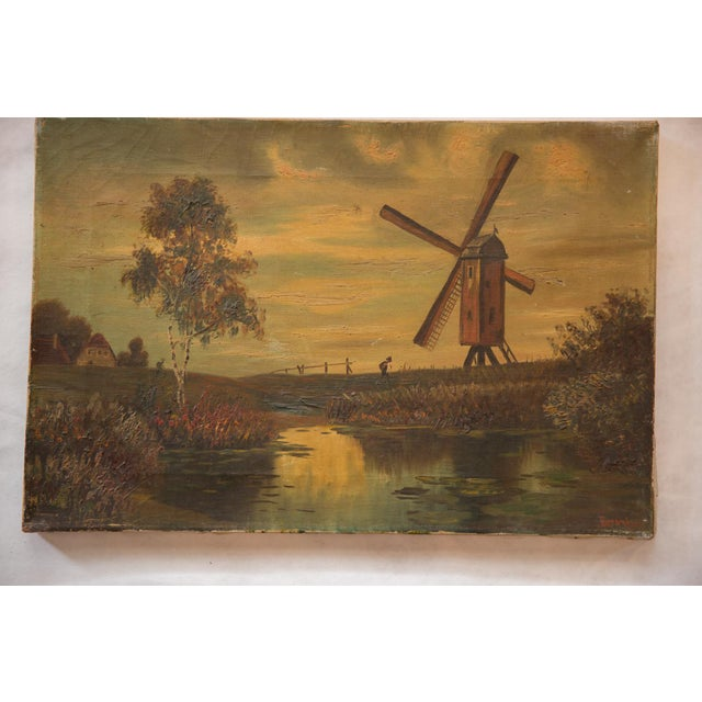 Early 20th Century Antique Countryside Landscape Windmill Painting For Sale - Image 5 of 8