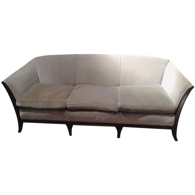 Antique Gray Velvet Sofa - Image 1 of 5