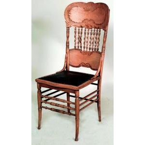 Americana Set of 4 American Victorian stripped oak side chairs with spindle and pressed design back with black leather seat(priced each) For Sale - Image 3 of 3