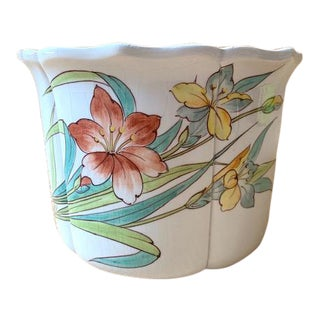 Vintage Italian Floral Fluted Cachepot For Sale
