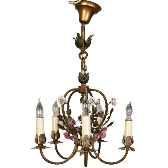 French Five-Light Brass Chandelier With Porcelain Flowers - Image 1 of 6