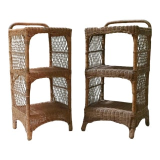 Vintage Victorian Two Tier Wicker End Tables - a Pair For Sale