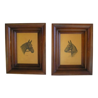 Equestrian Country Style Framed Horse Prints - a Pair