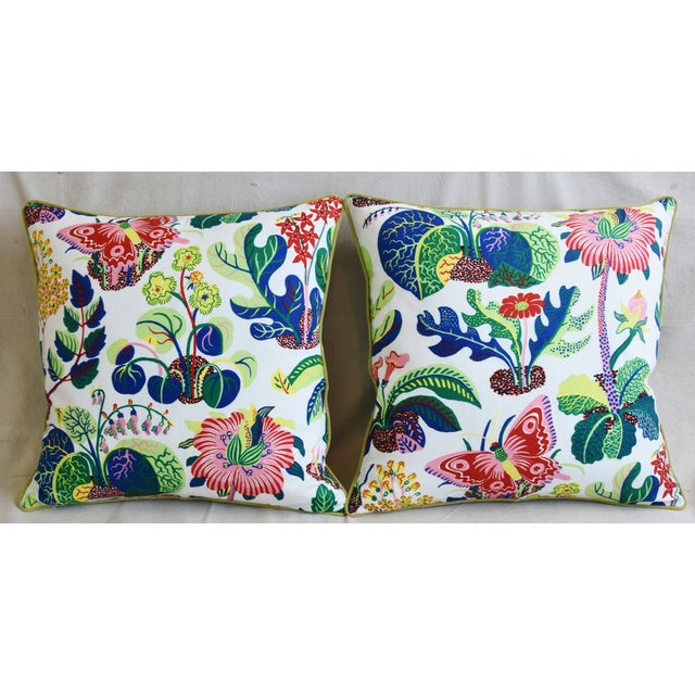 """Pair of custom-tailored pillows in Schumacher """"Exotic Butterfly Spring"""" fabric, a faithful reproduction of a never-before-..."""